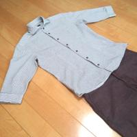 ミッシェルクランのストライプホリゾンタルカラーシャツの夏コーデです。