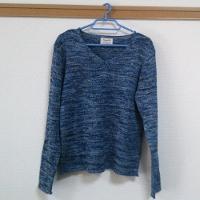 メンズスタイルのVネックセーターです。