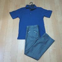 エムケーオムのグリッドブロックポロシャツのコーデ2です。