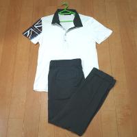 ハイダウェイ ニコルのユニオンプリントポロシャツのコーデです。