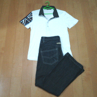 ハイダウェイ ニコルのユニオンプリントポロシャツのコーデ2です。