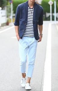 メンズスタイルの夏のテーラードジャケットの着こなし➂です。