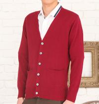 メンズファッション+の秋カラーのカーディガンコーデです。