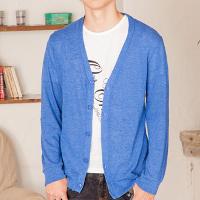 メンズファッション+の青カーディガンコーデです。