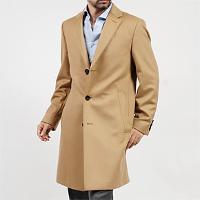 モダンブルーのヒューゴボスのキャメルチェスターコートです。