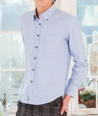 メンズファッションプラスのブルー系シャツコーデです。
