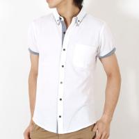 スプートニクスのポロシャツ素材の白半袖シャツです。