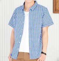 メンズファッションプラスのチェックブルー半袖シャツです。