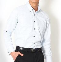 ビズフロントのブルー系長袖ドレスシャツです。
