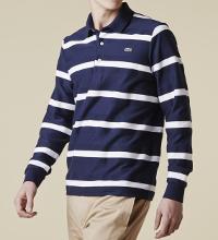 ラコステの長袖ブルーボーダーポロシャツです。