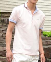メンズスタイルのピンクポロシャツです。