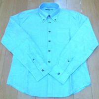 メンズファッションプラスのブルーのオックスフォード長袖シャツです。