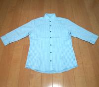 ミッシェルクランのストライプスタンドカラーシャツです。