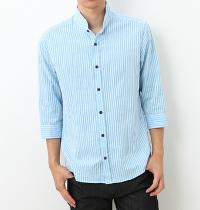 ミッシェルクランのライトブルー7分袖シャツです。