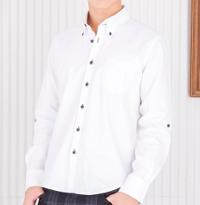 メンズファッション+の白シャツコーデです。