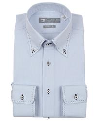 スーツカンパニーの青系ボタンダウンシャツです。