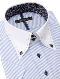 PSFAのブルーストライプ半袖シャツです。