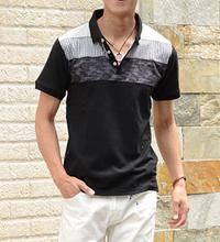 メンズスタイルのブラック系ポロシャツです。