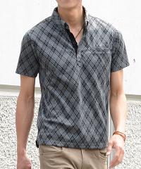 メンズスタイルのグレー系ポロシャツコーデです。